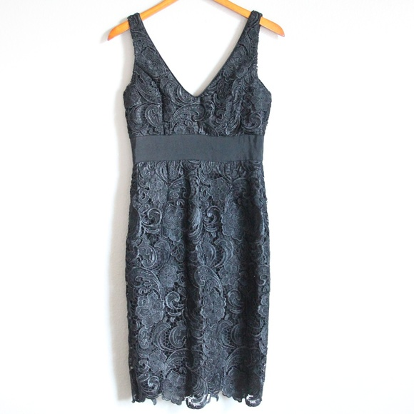 Adrianna Papell Dresses & Skirts - Adrianna Papell Black V Neck Lace Dress 4